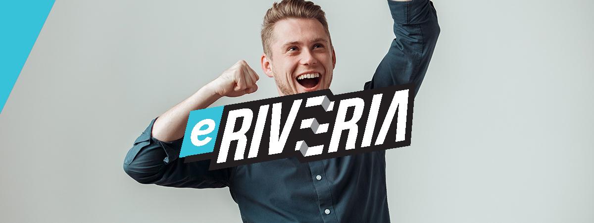 eRiveria logo ja taustalla iloinen mies